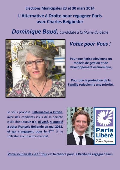 dominique baud,paris libéré,paris 6,profession de foi,charles beigbeder,municipales 2014