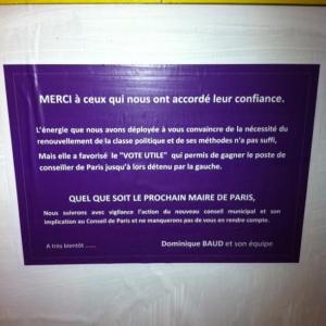 dominique baud,75006,paris 6,paris libéré,municipales 2014,élections,1er tour,ump,ps